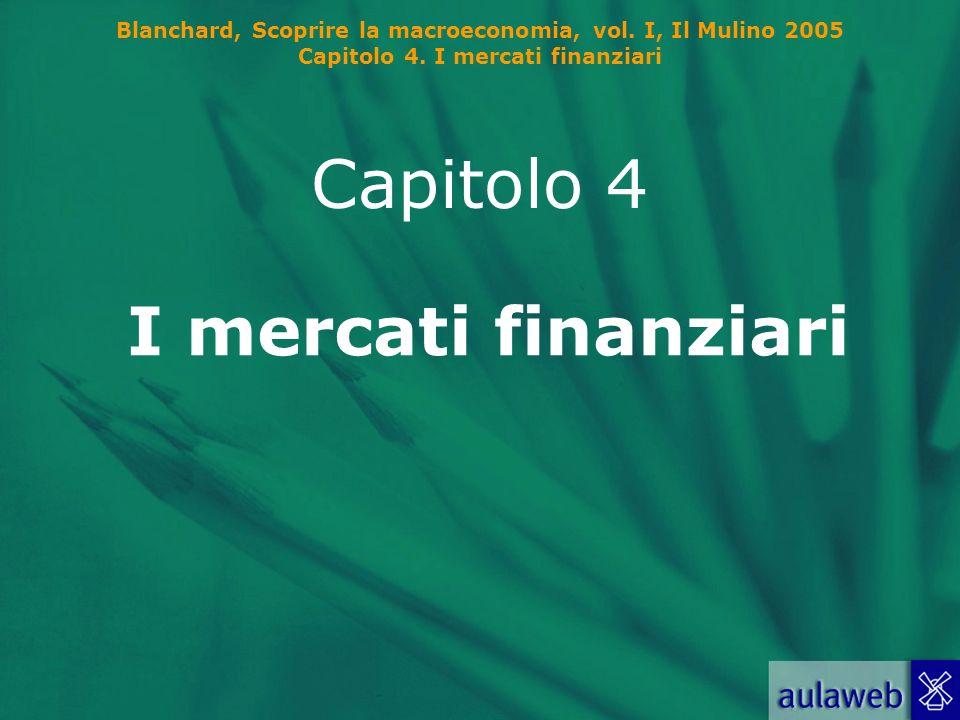 Blanchard, Scoprire la macroeconomia, vol. I, Il Mulino 2005 Capitolo 4. I mercati finanziari I mercati finanziari Capitolo 4