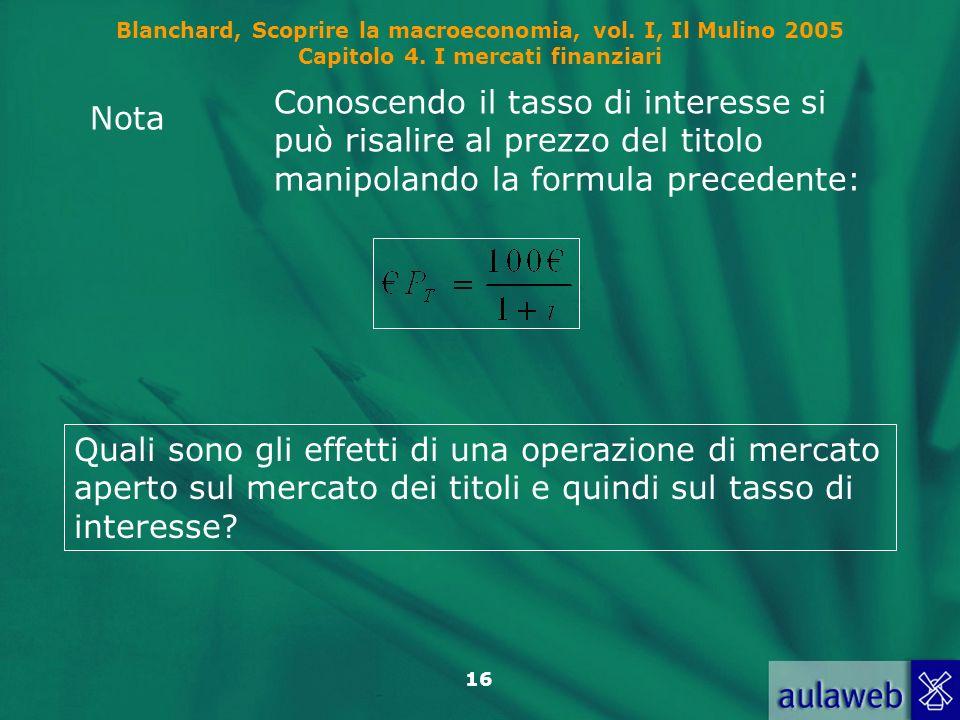 Blanchard, Scoprire la macroeconomia, vol. I, Il Mulino 2005 Capitolo 4. I mercati finanziari 16 Nota Conoscendo il tasso di interesse si può risalire