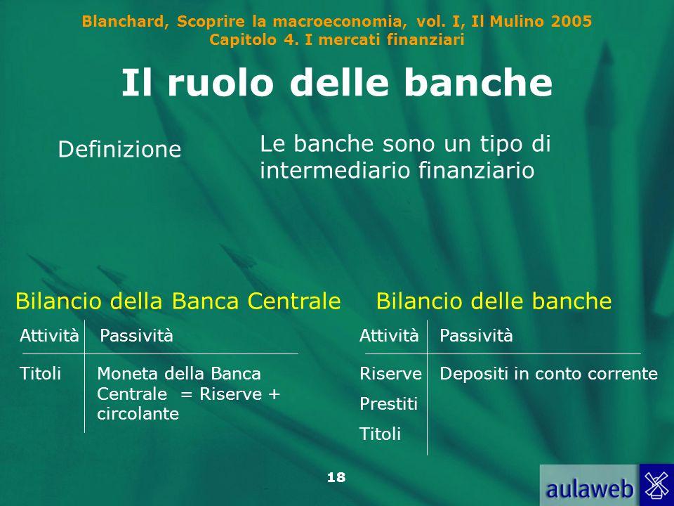 Blanchard, Scoprire la macroeconomia, vol. I, Il Mulino 2005 Capitolo 4. I mercati finanziari 18 Il ruolo delle banche Le banche sono un tipo di inter