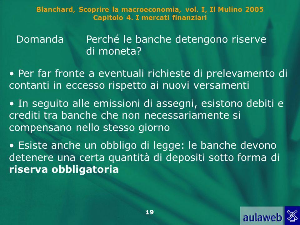 Blanchard, Scoprire la macroeconomia, vol. I, Il Mulino 2005 Capitolo 4. I mercati finanziari 19 DomandaPerché le banche detengono riserve di moneta?