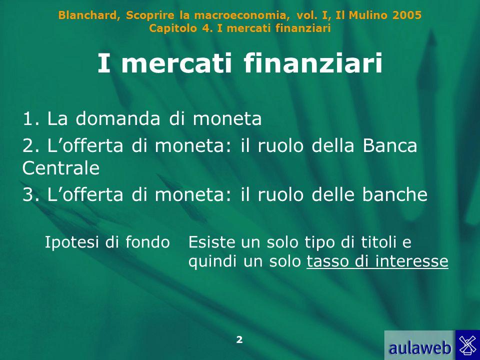 Blanchard, Scoprire la macroeconomia, vol. I, Il Mulino 2005 Capitolo 4. I mercati finanziari 2 I mercati finanziari 1. La domanda di moneta 2. Loffer