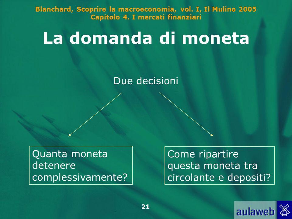 Blanchard, Scoprire la macroeconomia, vol. I, Il Mulino 2005 Capitolo 4. I mercati finanziari 21 La domanda di moneta Due decisioni Quanta moneta dete