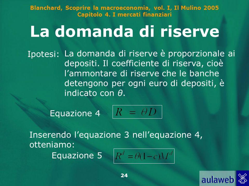 Blanchard, Scoprire la macroeconomia, vol. I, Il Mulino 2005 Capitolo 4. I mercati finanziari 24 La domanda di riserve Ipotesi: La domanda di riserve