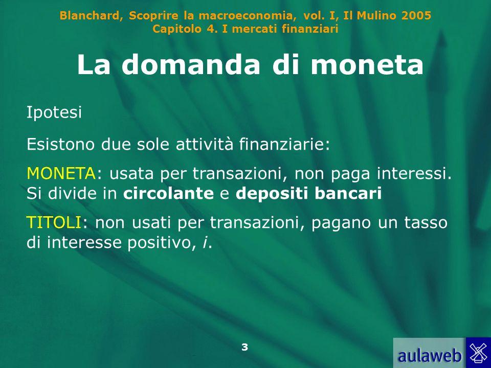 Blanchard, Scoprire la macroeconomia, vol. I, Il Mulino 2005 Capitolo 4. I mercati finanziari 3 La domanda di moneta Ipotesi Esistono due sole attivit