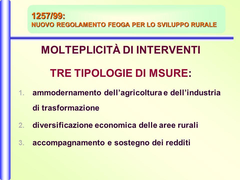 MOLTEPLICITÀ DI INTERVENTI TRE TIPOLOGIE DI MSURE: 1.