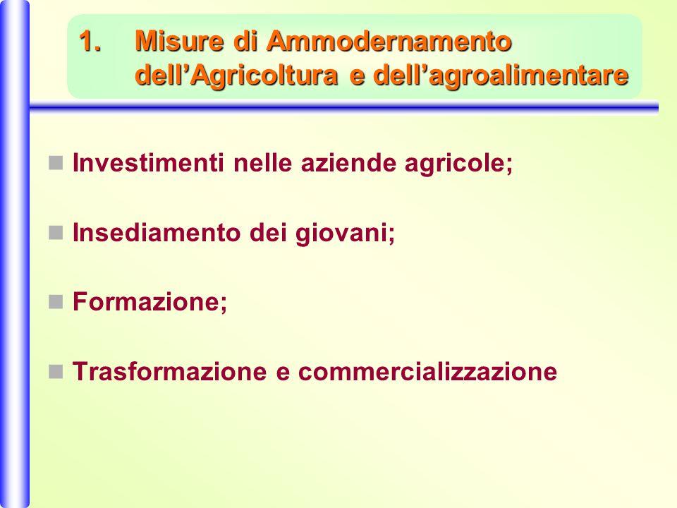 1.Misure di Ammodernamento dellAgricoltura e dellagroalimentare Investimenti nelle aziende agricole; Insediamento dei giovani; Formazione; Trasformazione e commercializzazione