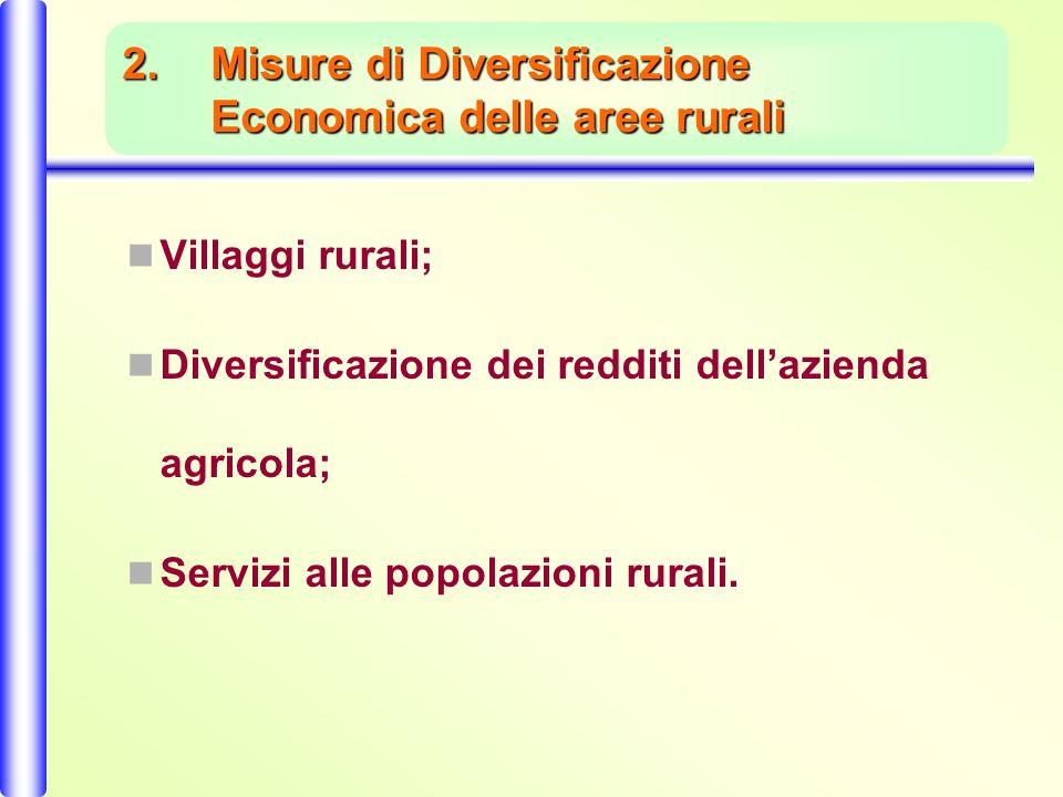 2.Misure di Diversificazione Economica delle aree rurali Villaggi rurali; Diversificazione dei redditi dellazienda agricola; Servizi alle popolazioni rurali.