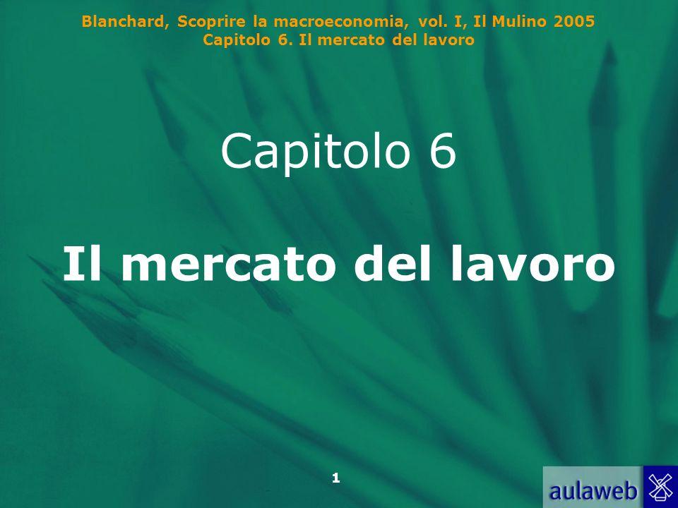Blanchard, Scoprire la macroeconomia, vol. I, Il Mulino 2005 Capitolo 6. Il mercato del lavoro 1 Capitolo 6 Il mercato del lavoro