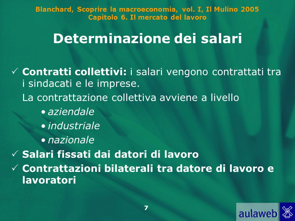 Blanchard, Scoprire la macroeconomia, vol. I, Il Mulino 2005 Capitolo 6. Il mercato del lavoro 7 Determinazione dei salari Contratti collettivi: i sal
