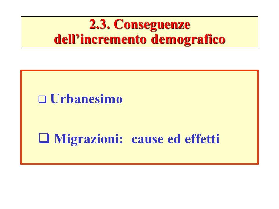 2.3. Conseguenze dellincremento demografico Urbanesimo Migrazioni: cause ed effetti