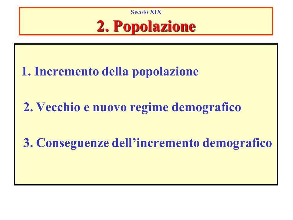 2. Popolazione Secolo XIX 2. Popolazione 1. Incremento della popolazione 2. Vecchio e nuovo regime demografico 3. Conseguenze dellincremento demografi