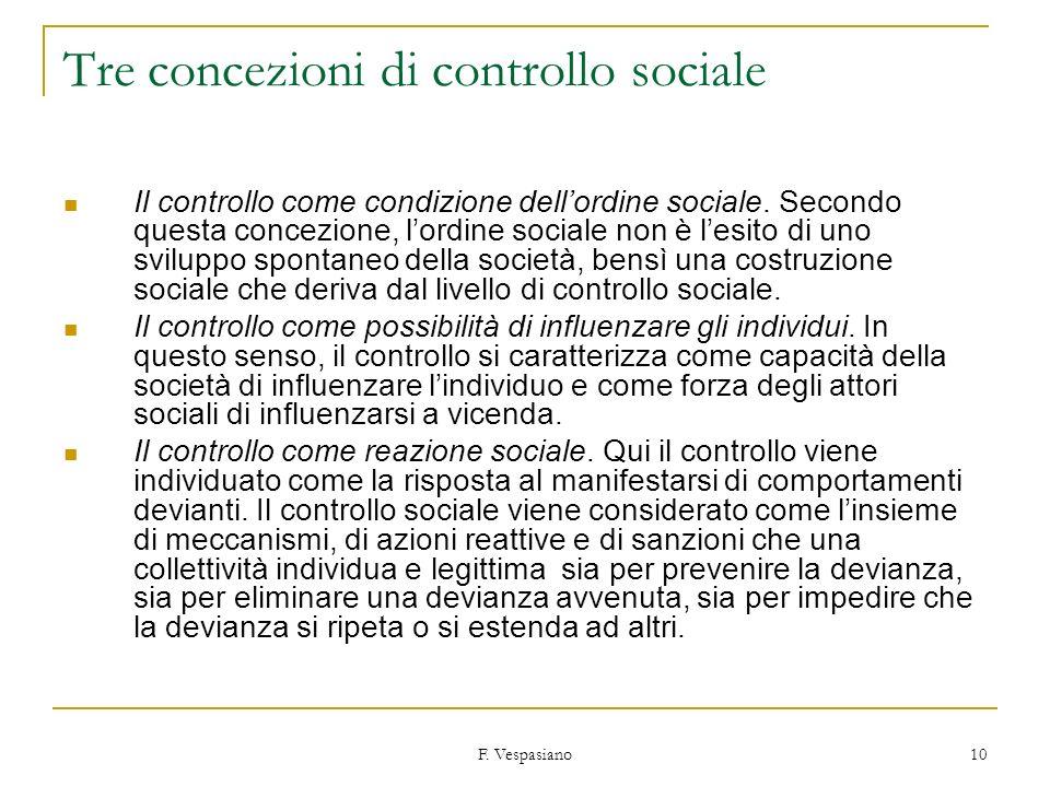 F. Vespasiano 10 Tre concezioni di controllo sociale Il controllo come condizione dellordine sociale. Secondo questa concezione, lordine sociale non è