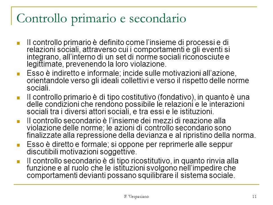 F. Vespasiano 11 Controllo primario e secondario Il controllo primario è definito come linsieme di processi e di relazioni sociali, attraverso cui i c