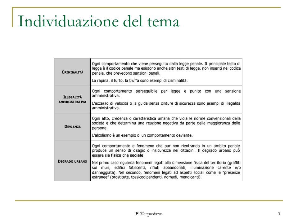 F. Vespasiano 3 Individuazione del tema