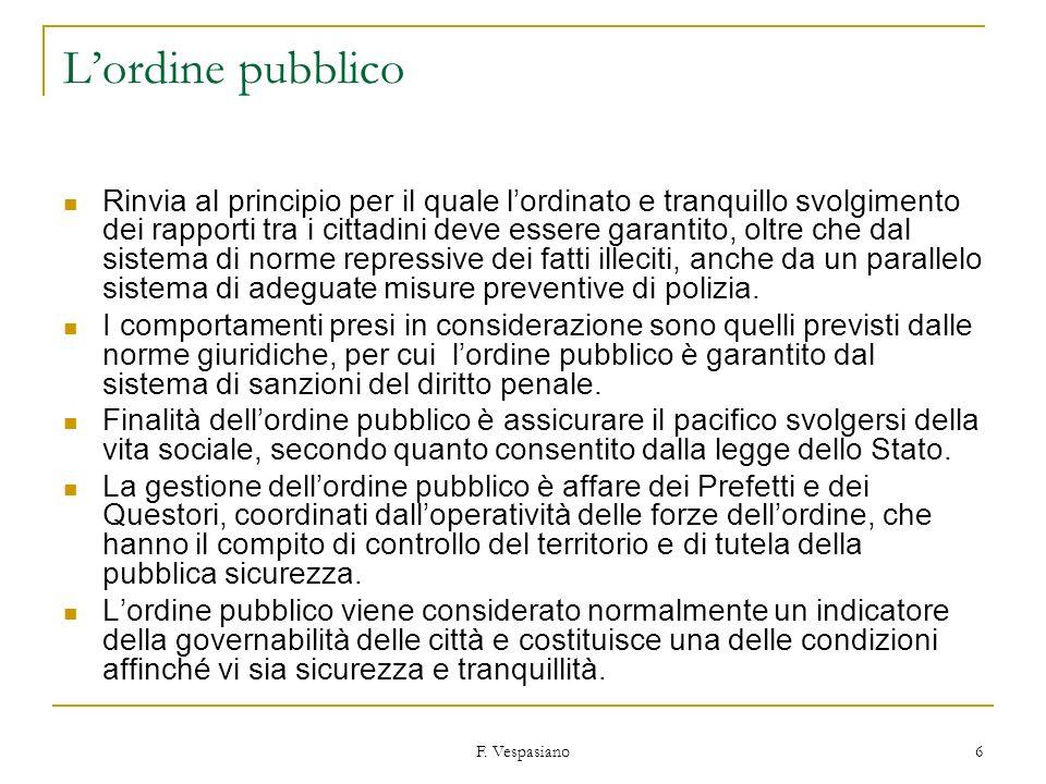 F. Vespasiano 6 Lordine pubblico Rinvia al principio per il quale lordinato e tranquillo svolgimento dei rapporti tra i cittadini deve essere garantit