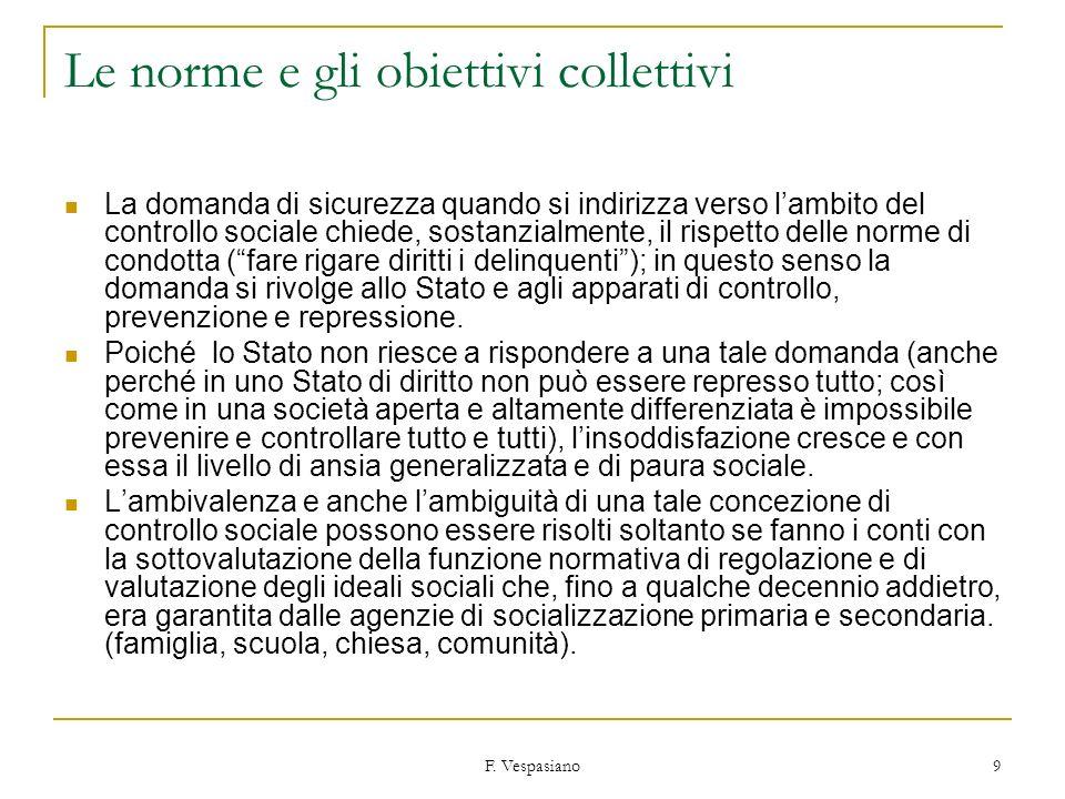 F. Vespasiano 9 Le norme e gli obiettivi collettivi La domanda di sicurezza quando si indirizza verso lambito del controllo sociale chiede, sostanzial