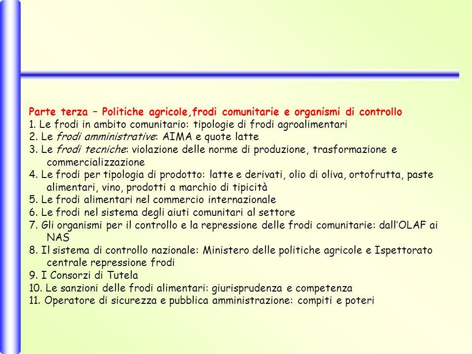Parte terza – Politiche agricole,frodi comunitarie e organismi di controllo 1.