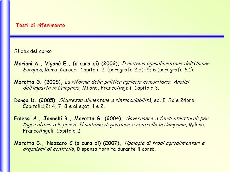 Slides del corso Mariani A., Viganò E., (a cura di) (2002), Il sistema agroalimentare dellUnione Europea, Roma, Carocci.