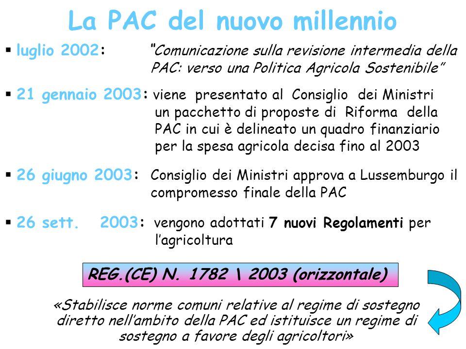 La PAC del nuovo millennio luglio 2002: Comunicazione sulla revisione intermedia della PAC: verso una Politica Agricola Sostenibile 21 gennaio 2003: viene presentato al Consiglio dei Ministri un pacchetto di proposte di Riforma della PAC in cui è delineato un quadro finanziario per la spesa agricola decisa fino al 2003 26 giugno 2003: Consiglio dei Ministri approva a Lussemburgo il compromesso finale della PAC 26 sett.