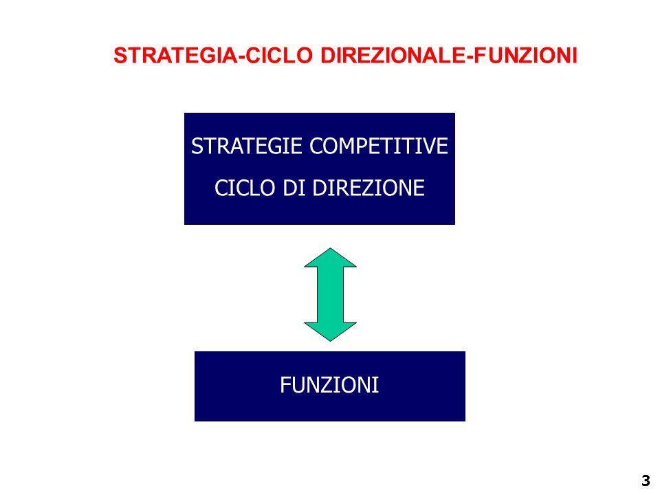 3 STRATEGIA-CICLO DIREZIONALE-FUNZIONI STRATEGIE COMPETITIVE CICLO DI DIREZIONE FUNZIONI