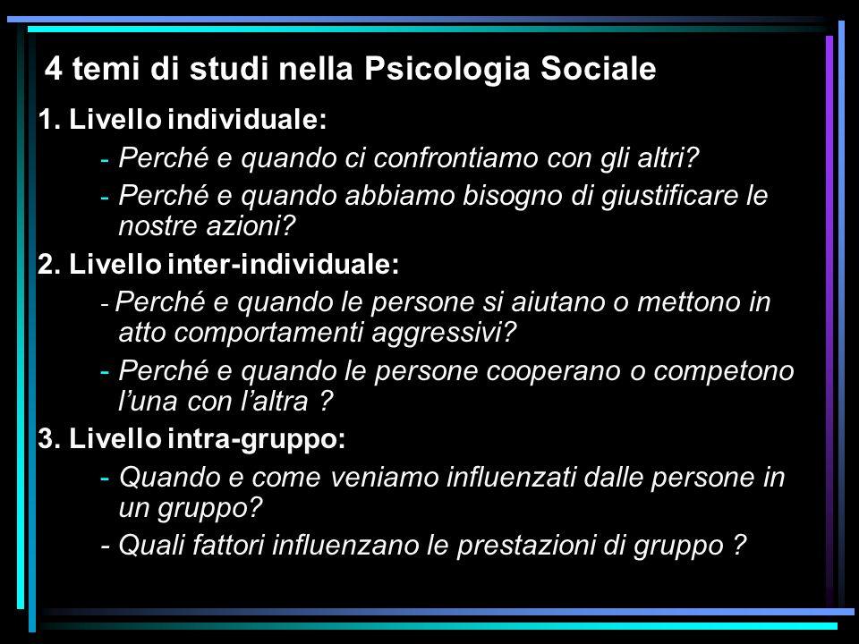 4 temi di studi nella Psicologia Sociale 1. Livello individuale: - Perché e quando ci confrontiamo con gli altri? - Perché e quando abbiamo bisogno di