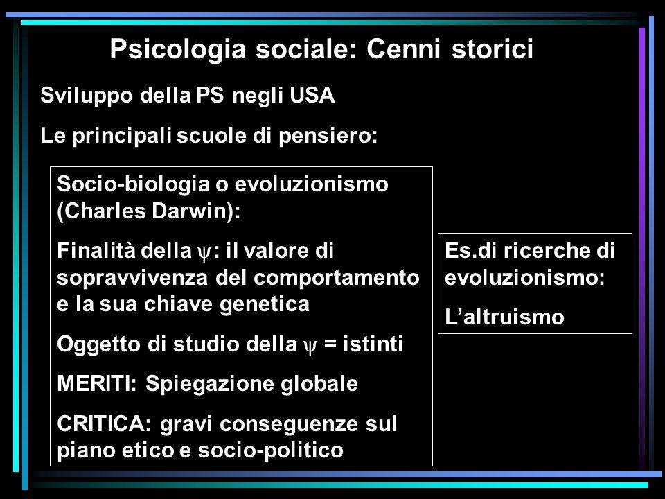 Psicologia sociale: Cenni storici Sviluppo della PS negli USA Le principali scuole di pensiero: Socio-biologia o evoluzionismo (Charles Darwin): Final
