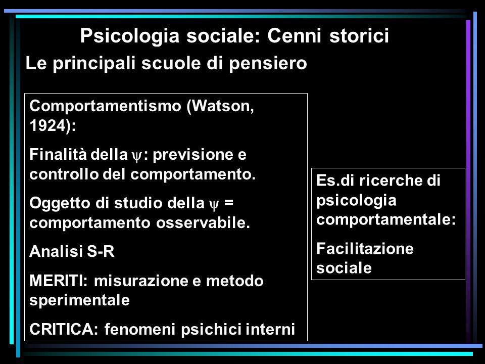 Psicologia sociale: Cenni storici Le principali scuole di pensiero Comportamentismo (Watson, 1924): Finalità della : previsione e controllo del compor