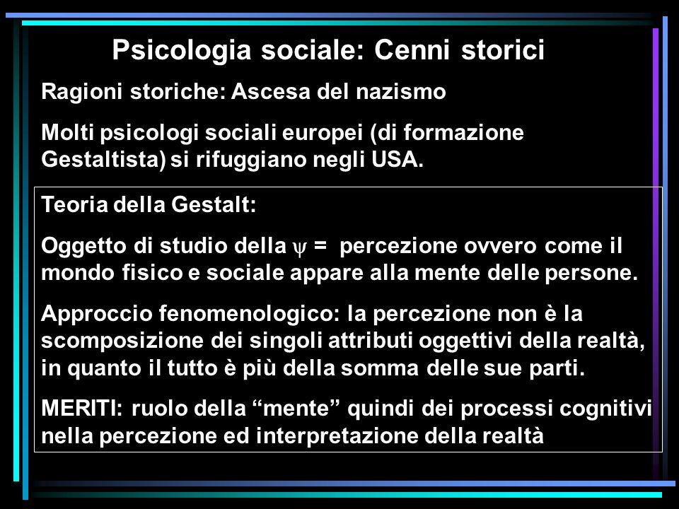Psicologia sociale: Cenni storici Ragioni storiche: Ascesa del nazismo Molti psicologi sociali europei (di formazione Gestaltista) si rifuggiano negli