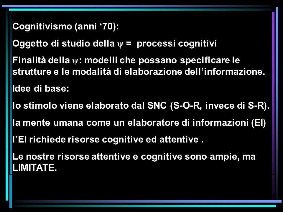 Cognitivismo (anni 70): Oggetto di studio della = processi cognitivi Finalità della : modelli che possano specificare le strutture e le modalità di el