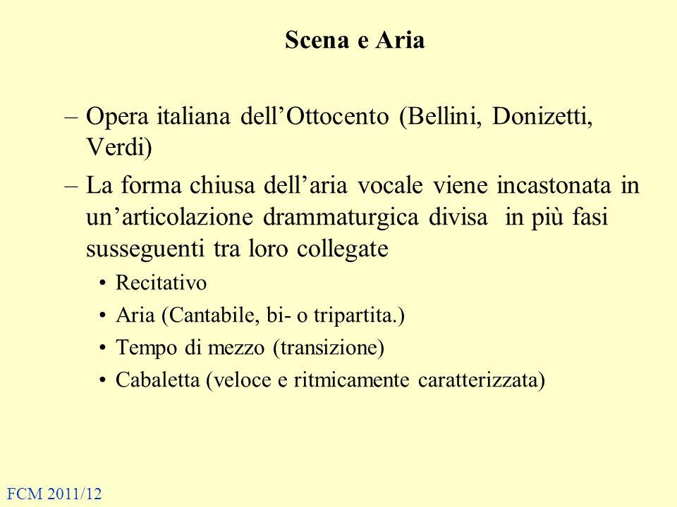 Scena e Aria –Opera italiana dellOttocento (Bellini, Donizetti, Verdi) –La forma chiusa dellaria vocale viene incastonata in unarticolazione drammatur