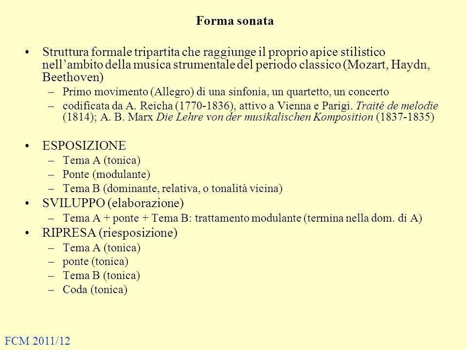 Forma sonata Struttura formale tripartita che raggiunge il proprio apice stilistico nellambito della musica strumentale del periodo classico (Mozart,