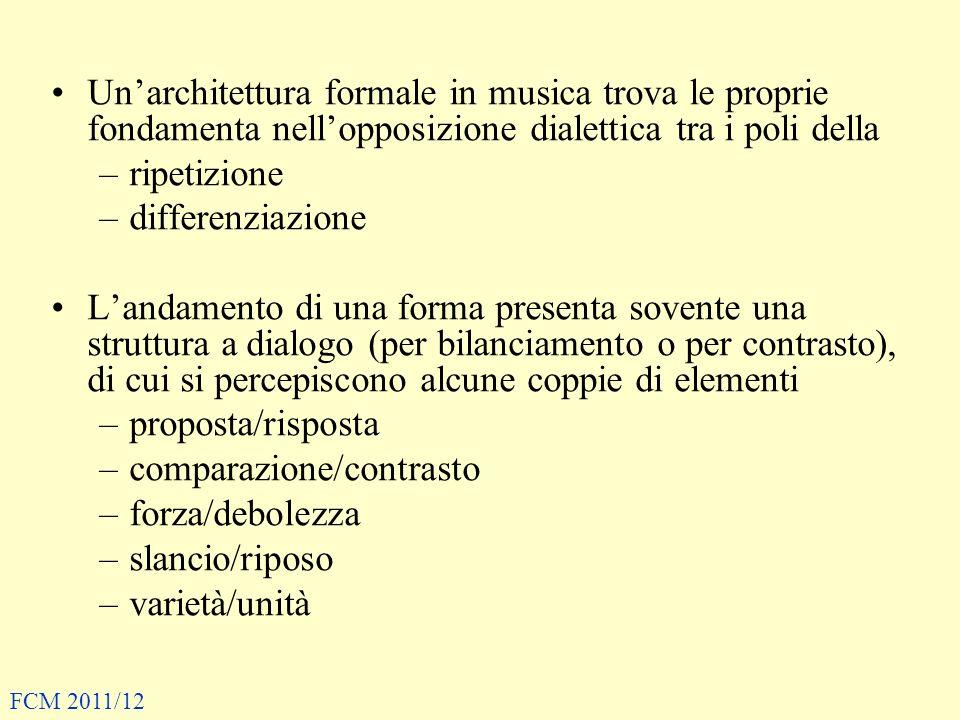 Unarchitettura formale in musica trova le proprie fondamenta nellopposizione dialettica tra i poli della –ripetizione –differenziazione Landamento di