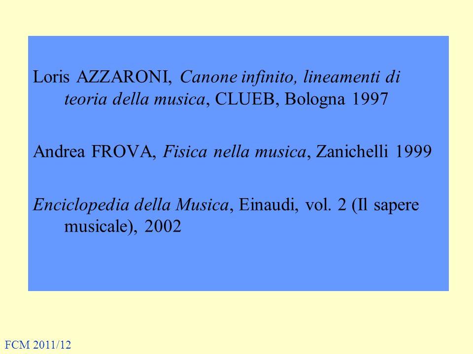 Loris AZZARONI, Canone infinito, lineamenti di teoria della musica, CLUEB, Bologna 1997 Andrea FROVA, Fisica nella musica, Zanichelli 1999 Enciclopedia della Musica, Einaudi, vol.