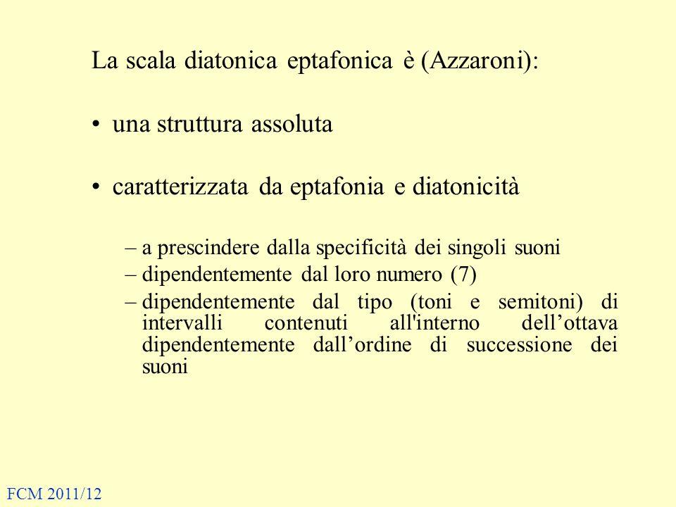 La scala diatonica eptafonica è (Azzaroni): una struttura assoluta caratterizzata da eptafonia e diatonicità –a prescindere dalla specificità dei singoli suoni –dipendentemente dal loro numero (7) –dipendentemente dal tipo (toni e semitoni) di intervalli contenuti all interno dellottava dipendentemente dallordine di successione dei suoni FCM 2011/12