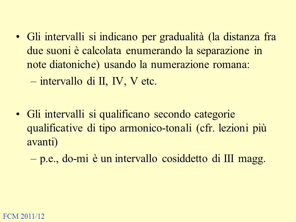 Gli intervalli si indicano per gradualità (la distanza fra due suoni è calcolata enumerando la separazione in note diatoniche) usando la numerazione romana: –intervallo di II, IV, V etc.