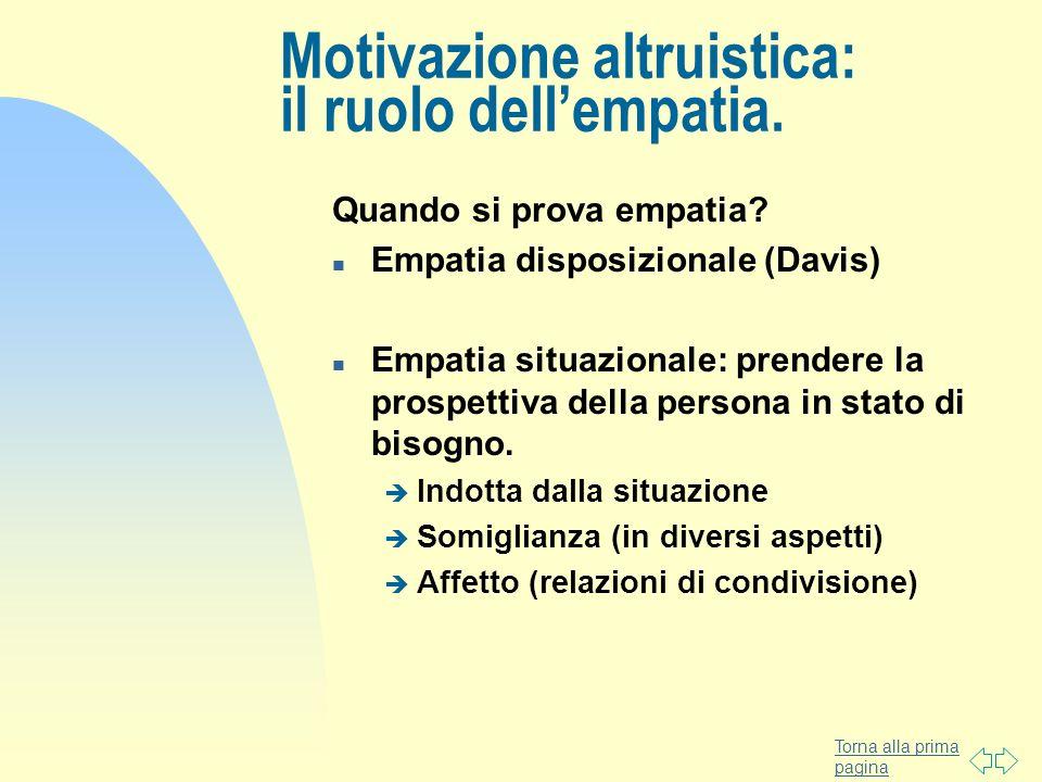 Torna alla prima pagina Motivazione altruistica: il ruolo dellempatia. Quando si prova empatia? n Empatia disposizionale (Davis) n Empatia situazional