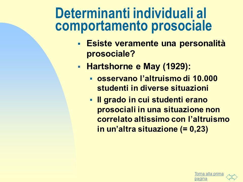 Torna alla prima pagina Determinanti individuali al comportamento prosociale Esiste veramente una personalità prosociale? Hartshorne e May (1929): oss