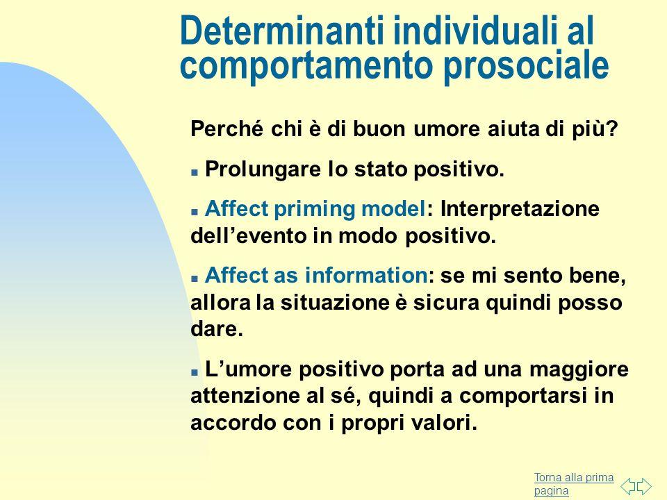 Torna alla prima pagina Perché chi è di buon umore aiuta di più? n Prolungare lo stato positivo. n Affect priming model: Interpretazione dellevento in