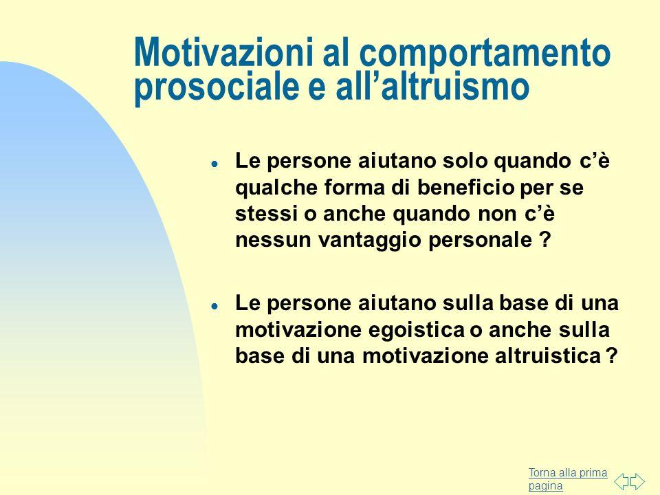 Torna alla prima pagina Motivazioni al comportamento prosociale e allaltruismo l Le persone aiutano solo quando cè qualche forma di beneficio per se s