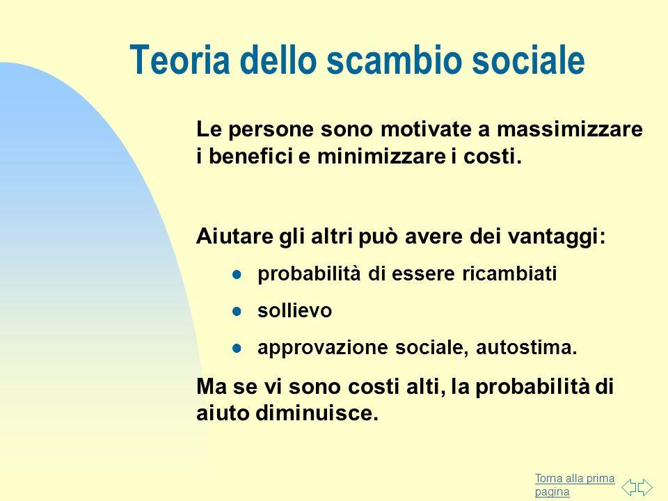 Torna alla prima pagina Teoria dello scambio sociale Le persone sono motivate a massimizzare i benefici e minimizzare i costi. Aiutare gli altri può a