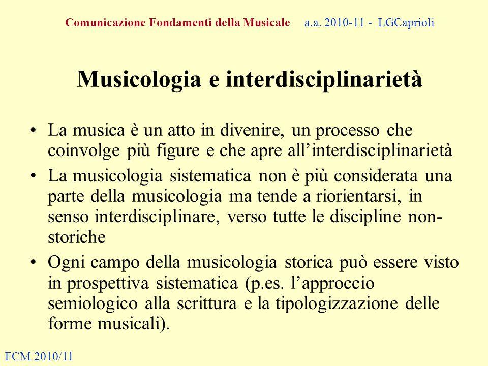 Comunicazione Fondamenti della Musicale a.a. 2010-11 - LGCaprioli Musicologia e interdisciplinarietà La musica è un atto in divenire, un processo che