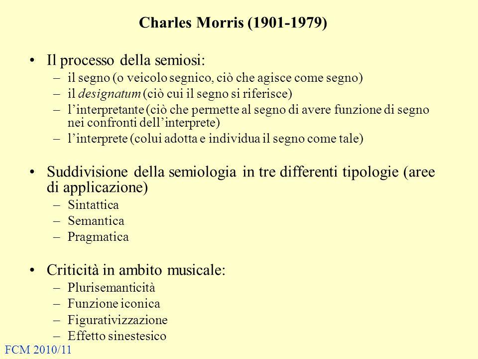 Charles Morris (1901-1979) Il processo della semiosi: –il segno (o veicolo segnico, ciò che agisce come segno) –il designatum (ciò cui il segno si riferisce) –linterpretante (ciò che permette al segno di avere funzione di segno nei confronti dellinterprete) –linterprete (colui adotta e individua il segno come tale) Suddivisione della semiologia in tre differenti tipologie (aree di applicazione) –Sintattica –Semantica –Pragmatica Criticità in ambito musicale: –Plurisemanticità –Funzione iconica –Figurativizzazione –Effetto sinestesico FCM 2010/11