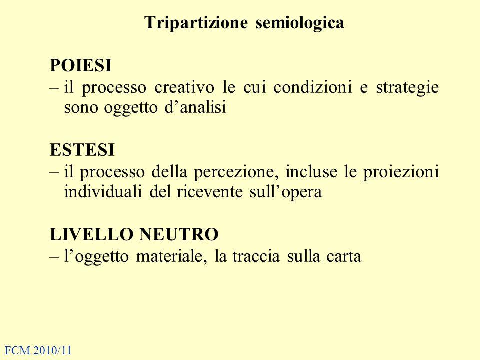 Tripartizione semiologica POIESI –il processo creativo le cui condizioni e strategie sono oggetto danalisi ESTESI –il processo della percezione, inclu
