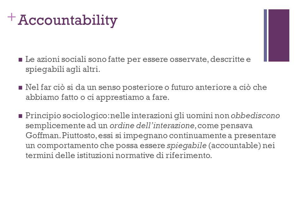 + Accountability Le azioni sociali sono fatte per essere osservate, descritte e spiegabili agli altri. Nel far ciò si da un senso posteriore o futuro