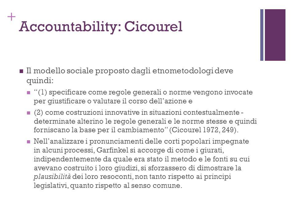 + Accountability: Cicourel Il modello sociale proposto dagli etnometodologi deve quindi: (1) specificare come regole generali o norme vengono invocate