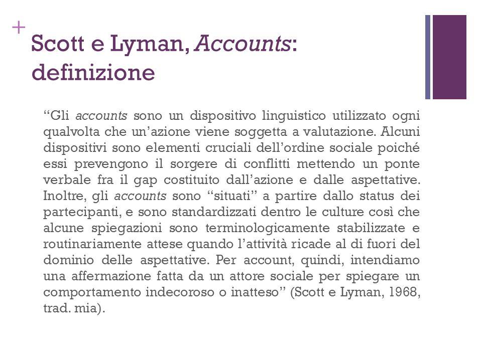+ Scott e Lyman, Accounts: definizione Gli accounts sono un dispositivo linguistico utilizzato ogni qualvolta che unazione viene soggetta a valutazion