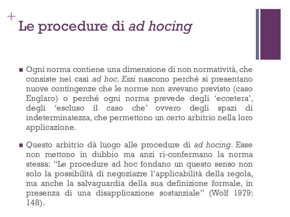 + Le procedure di ad hocing Ogni norma contiene una dimensione di non normatività, che consiste nei casi ad hoc. Essi nascono perché si presentano nuo