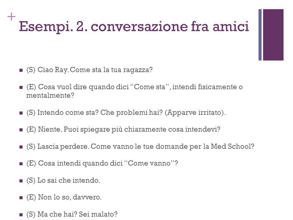 + Esempi. 2. conversazione fra amici (S) Ciao Ray. Come sta la tua ragazza? (E) Cosa vuol dire quando dici Come sta, intendi fisicamente o mentalmente