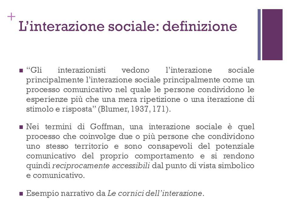+ Linterazione sociale: definizione Gli interazionisti vedono linterazione sociale principalmente linterazione sociale principalmente come un processo