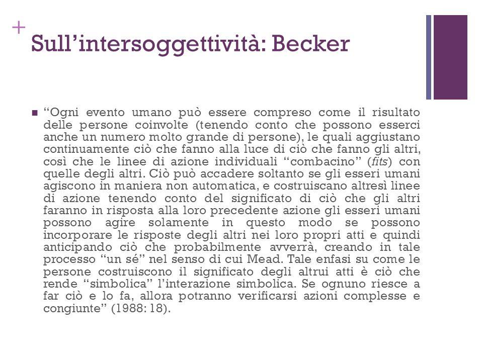 + Sullintersoggettività: Becker Ogni evento umano può essere compreso come il risultato delle persone coinvolte (tenendo conto che possono esserci anc